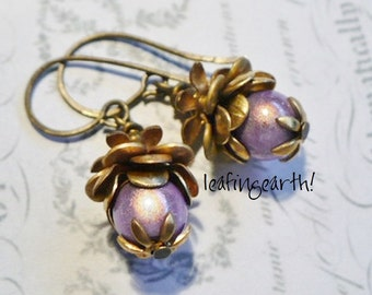 layered natural brass lavender bead FLOWER BUD  earrings
