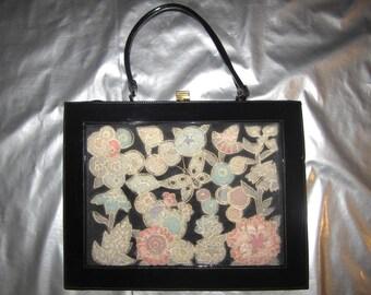 Black Patent Purse with Pastel Velvet Floral and Butterfly Design - Vintage 1950's Handbag