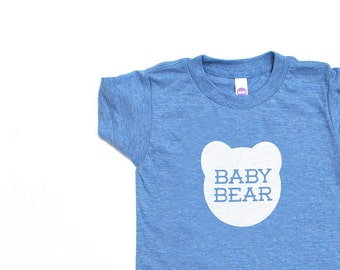 Baby Bear Kids Toddler TriBlend Heather Blue TShirt with White Print
