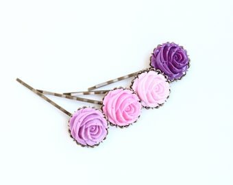 Pink and purple hair pins, Bobby Pins Hair Pins Set, Antique Brass, Vintage Style Flowers, Gift  For Girl, Floral Accessories