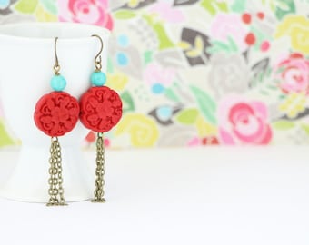 Red Earrings - Tassel Earrings - Red and Aqua - Carved Earrings - Dangle Earrings - Boho Chic Jewelry - Gift For Woman - Gift For Her