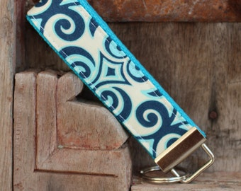 READY TO SHIP-Beautiful Key Fob/Keychain/Wristlet-Blue Swirl on Turquoise