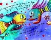 Whimsical Art Print, Cute Fish Art, Nautical Art Illustration, 8 x 10, 5 x 7, Mixed Media, Turquoise Blue Yellow, Ocean Sea Friendship Art