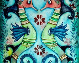 Nautical Art Print, Two Seahorses, Cute Fish Friendship, Beach Sea Shore Art, 8 x 10.5, 5 x 6.5, Whimsical Art, Mixed Media, Blue Green