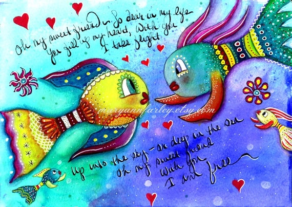 Whimsical Art Print, Cute Fish Art, Nautical Art Illustration, 8 x 10, 5 x 7, Mixed Media, Turquoise Blue Yellow, Ocean Sea Friendship Art