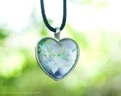 Photo pendant love heart silver white Australian Boronia wild flower green bridal nature jewellery necklace fPOE Perth metallic pendant