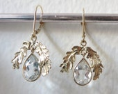 White Topaz and 14kt Yellow Gold- The Oak Leaf Earrings