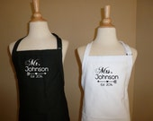 Personalized Mr. and Mrs. Apron set with last names and established date Great for newly weds new couple just married Valentines day gift