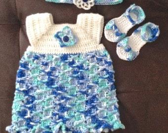 Little Raegan Crochet Baby Dress, Sandals, & Headband Collection - 5 sizes available!