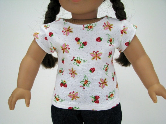 """18'"""" Doll Summer Print Top T-Shirt - Butterfly Strawberry Bee - Fits 18"""" Dolls - Handmade - 18 Inch Doll Clothes - A Doll Boutique"""