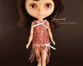 "CROCHET PATTERN PDF – Flapper Dress, Fedora & Knickers for 12"" Blythe"