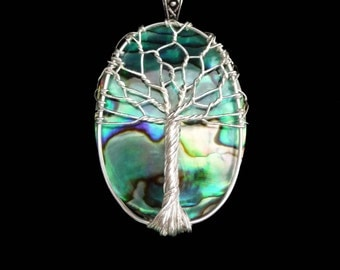 Natural Paua Shell Tree of Life Pendant in Silver Plated Brass