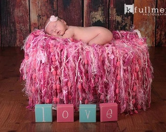 Pinks Newborn Girl Baby Blanket Fringe Photography Prop Pink Photo Prop for Baby Girl