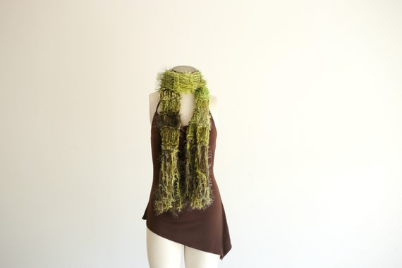 Green Scarf RESERVED Especially for Lisa Moss Green and Olive Green Scarf. Hand Knit Scarf Lightweight, Lofty and Bouncy