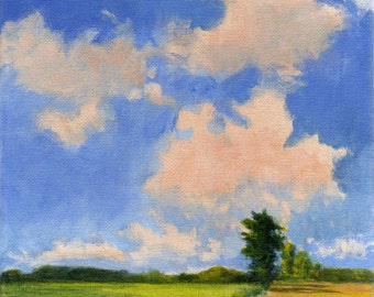 Landscape Painting Original Painting on Canvas Green and Yellow Fields Clouds and Blue Sky 8x8