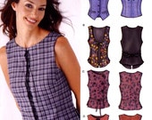 Lace up top sewing Back strap tops and vest sewing pattern New Look 6216 Size 6 to 16