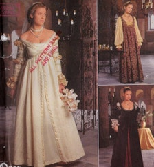Renaissance Dress Pattern Gown Gauntlets Veil Cap Costume