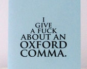 Oxford comma notecard