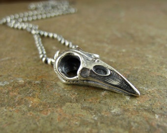 Mens Sterling Silver Bird Skull Necklace Skull Pendant, Raven Skull Jewelry, Crow Gothic Talisman Punk Rock