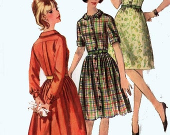 1960s Mod One or Two Piece Dress w/ box Pleats Simplicity 6042 Womens Vintage 60s Sewing Pattern Size 16 Bust 36