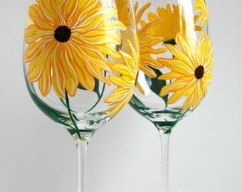 Yellow Sunflower Wine Glasses - Set of 2 Hand Painted Sunflower Glasses