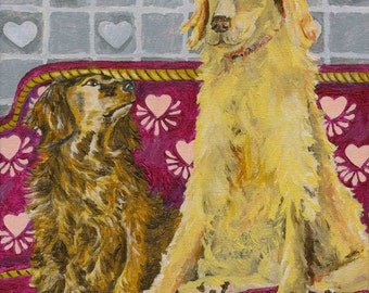 Whimsical  Dogs In Love Dachshund and Golden Dog Canine Retro Style Painting On Canvas