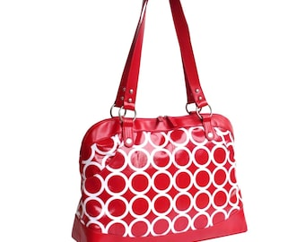 Laptop Tote Bag - Red and White Circles - SALE - Laminated Canvas - Vegan Leather - Laptop Bag