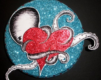 OCTOPUS WITH HEART (Aqua) // mixed media one-of-a-kind art piece