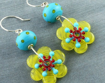 Yellow Flower Earrings Red Turquoise Yellow Flower Earrings Lampwork Turquoise Polka Dot Earrings Yellow Polka Dot Earrings Sterling Silver
