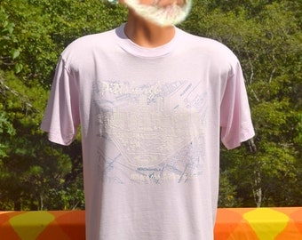 vintage 80s t-shirt PITTSBURGH pennsylvania 3 rivers map tourist soft thin tee Large pink