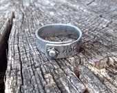 Not all those who wander are lost - Star rivet hand stamped aluminum adjustable band ring