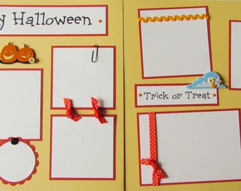 12x12 Premade Scrapbook Pages Layout --  HAPPY HALLOWEEN -- TRiCK or TReAT - boy girl baby family BOO!