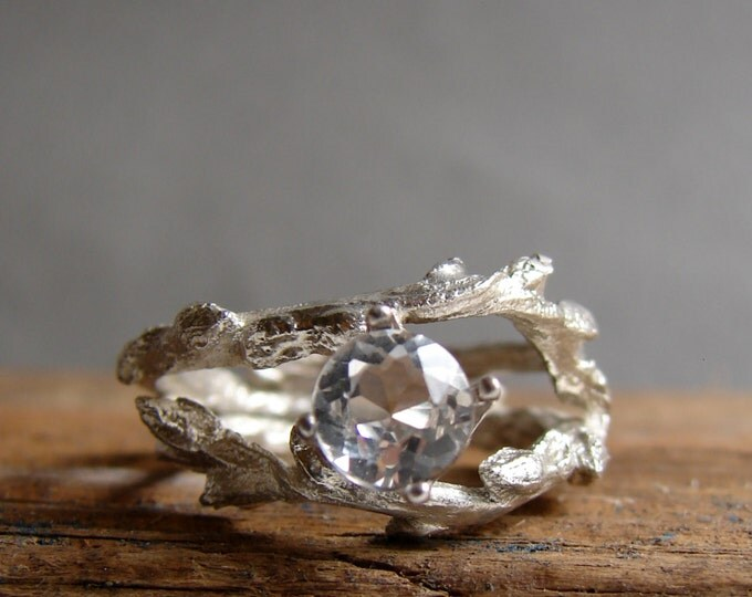 Twig Engagement Ring White Topaz Double Unique Branch Elvish Ring Jewelry April Birthstone Alternative Diamond