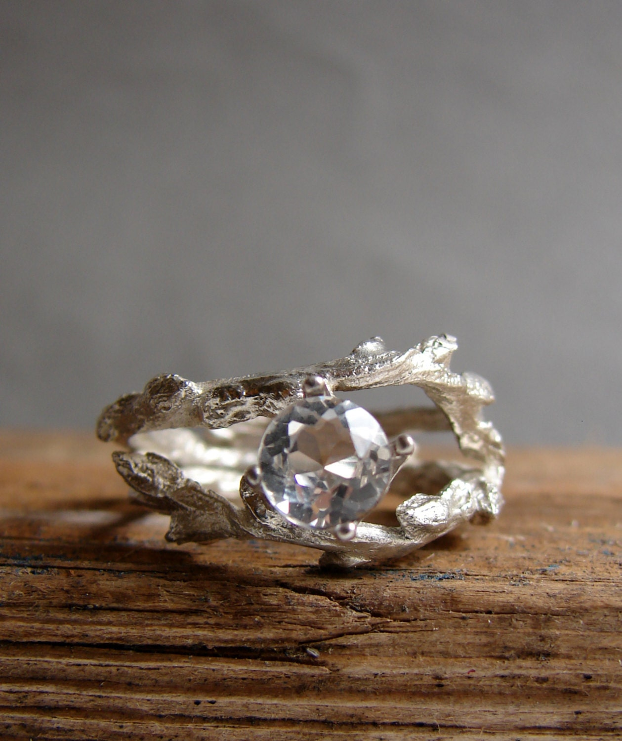 Twig Engagement Ring White Topaz Double Unique Branch Elvish