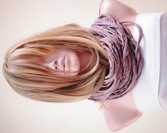 Jersey scarf, Jersey necklace, infinity eternity loop, multistrand necklace, Beige scarf