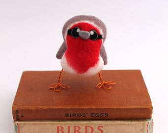 Needle Felted Bird Red Breasted Robin Tweet