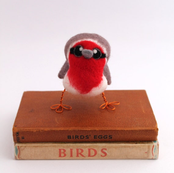Needle Felted Bird Red Breasted Robin Tweet