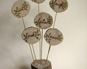 Live Love Laugh Listen Learn Look Tree of Life Organic Natural Myrtle Display Centerpiece by Tanja Sova