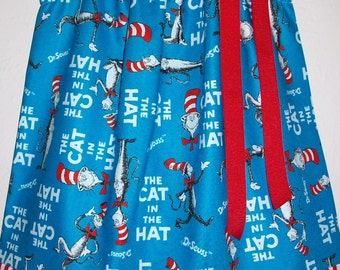 Girls Dress Pillowcase Dress Dr Seuss Dress Cat in the Hat Dress red white and blue stripes Party dress baby dress toddler dress School
