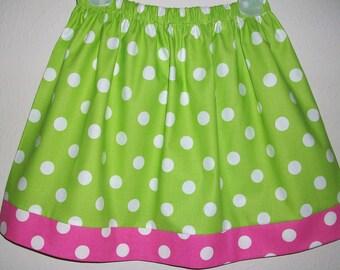 Girls Skirt, Polka Dot Skirt, Lime and Hot Pink, Birthday Skirt, Party Skirt, baby skirt, toddler skirt, toddler dress, Summer Skirt, Dots