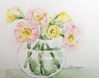 Watercolor Painting of Roses and Lilies Original Floral Flowers Bouquet Garden