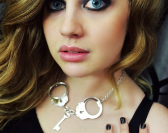 SILVER MIRRORED HANDCUFF - Laser Cut Acrylic Necklace