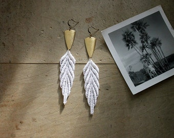 earrings // ARTEMIS // white and gold lace / feather / boho / hippie/ tribal / festival / leaf / long earrings