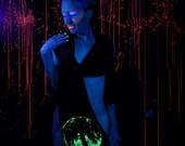Moon Oak Goddess Glow in the Dark screenprint on navy blue jersey scarf