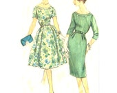 1950s Dress Slim or Gored Skirt / Cut Out Neckline Detail - Vintage Sewing Pattern Simplicity 3285 - Size 16 / Bust 36
