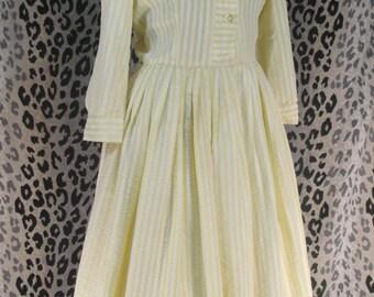 50s vintage full skirt dress shirtdress sunny yellow pleated stripe preppy smart nardis of dallas size small medium s m
