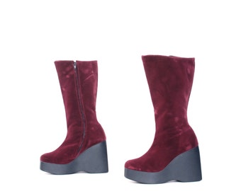 size 7 PLATFORM red velvet 80s 90s WEDGE zip up midcalf GOGO boots