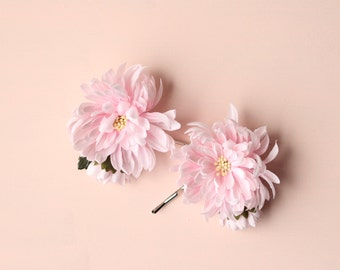 Pink flower bobby pins, Bridal hair clips, Pink bridal pins, Blush wedding, Vintage flower pins, SET of 2