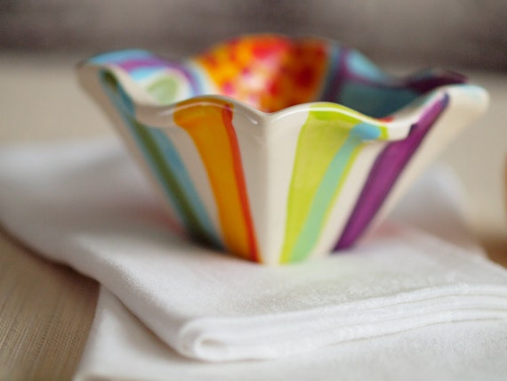 "Ring Dish Trinket Bowl Small Bowl Boho Decor Jubilation Extra Small Flareware Bowl 4.5x2.5"" Colorful Ceramic Pottery Trinket Dish Gift J"