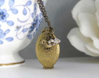 Vintage Style Folding Gold Brass Family Photo Locket Graduation Gift. Rustic Flowers Bird Necklace. Mother's Day Simple Gift